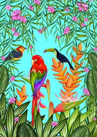tropical flower: illustration of exotic tropical background with colorful flower and birds Illustration