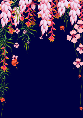 bloom bird of paradise: illustration of exotic tropical background with colorful flower