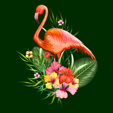 illustration of exotic tropical background with flamingo and flower