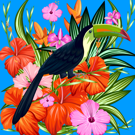 exotic flowers: illustration of exotic tropical background with colorful flower and toucan