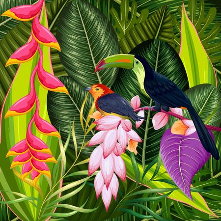 Ilustración de fondo tropical exótico con flores de colores y el tucán