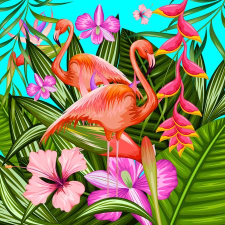illustratie van exotische tropische achtergrond met flamingo en bloemen Vector Illustratie