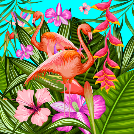illustration of exotic tropical background with flamingo and flower Vetores