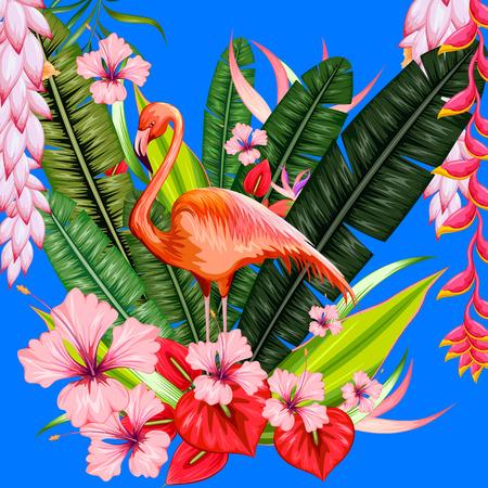 Ilustración de fondo tropical exótico con flamenco y flor