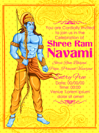 rama: illustration of Lord Rama in Ram Navami background