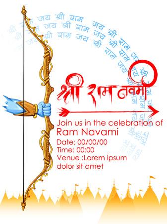 illustratie van Lord Rama in pamnavmi achtergrond