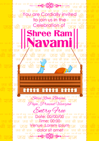 ravana: illustration of Lord Rama in Ram Navami background