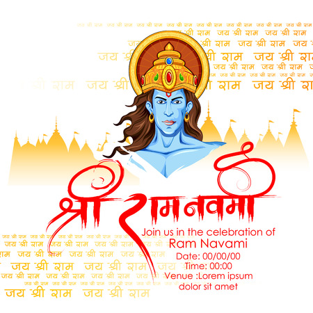 Ilustración del Señor Rama en el fondo Ram Navami Foto de archivo - 55947129
