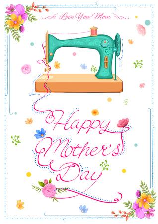 illustratie van kleurrijke Happy Mother's Day kaart met retro naaimachine Vector Illustratie