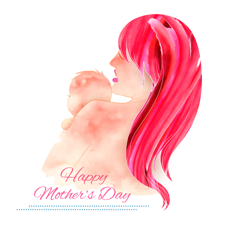 mother day: illustration of mother embracing child in Mothers Day Card