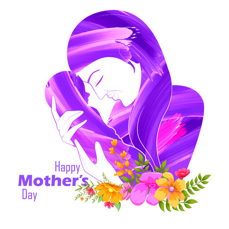 mom and daughter: illustration of mother embracing child in Mothers Day Card