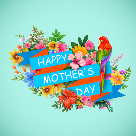 mothers day card: illustration of colorful Happy Mothers Day card with colorful flower