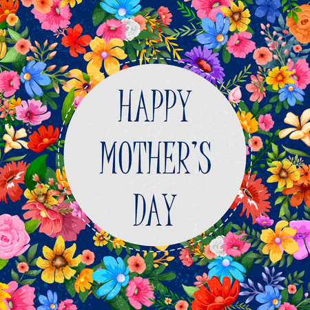 illustration of colorful Happy Mother's Day card with colorful flower Illustration