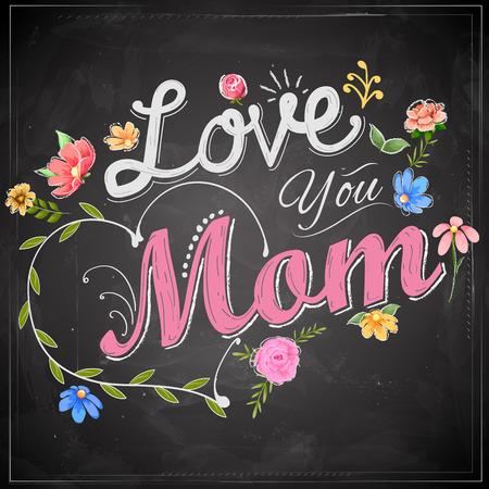 illustration de la Journée de mères heureux de voeux sur tableau noir