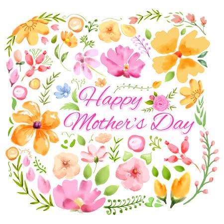 Illustration der bunten glücklichen Tag der Mutter Karte mit bunten Blumen