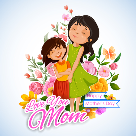 mothers day card: illustration of mother and daughter in Mothers Day Card Illustration