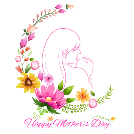 embracing: illustration of mother embracing child in Mothers Day Card