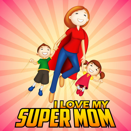 illustration of Supermom with kids in Happy Mother's Day card Vectores