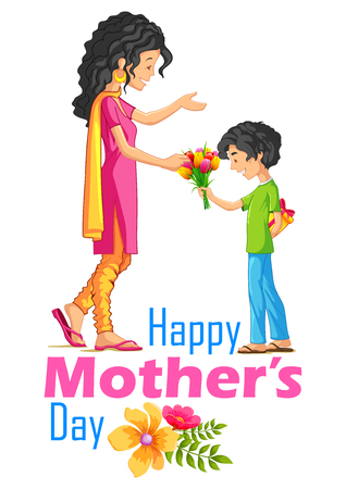 happy mom: illustration of kids giving gift to mother on Mothers Day