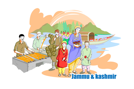 india culture: easy to edit vector illustration of people and culture of Jammu & Kashmir, India