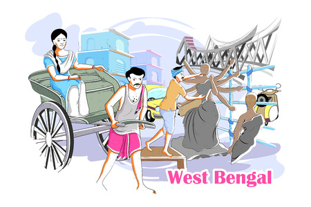 bengal: easy to edit vector illustration of people and culture of West Bengal, India