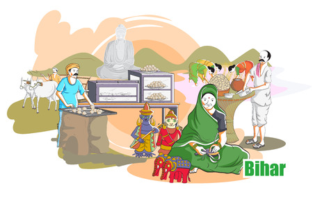 india culture: easy to edit vector illustration of people and culture of Bihar, India