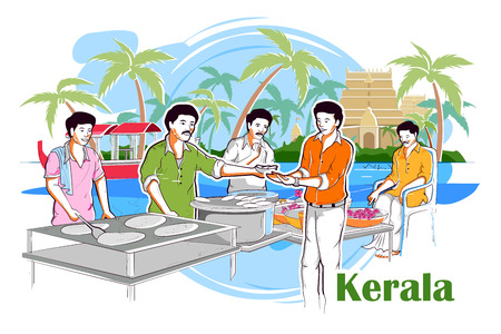 kerala culture: easy to edit vector illustration of people and culture of Kerala, India Illustration