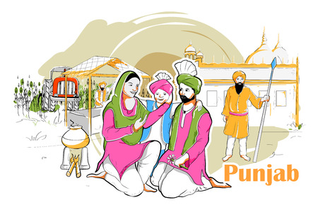 rural india: easy to edit vector illustration of people and culture of Punjab, India Illustration