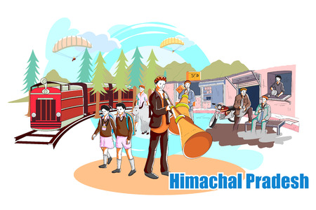 rural india: easy to edit vector illustration of people and culture of Himachal Pradesh, India Illustration