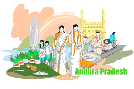 india culture: easy to edit vector illustration of people and culture of Andhra Pradesh, India