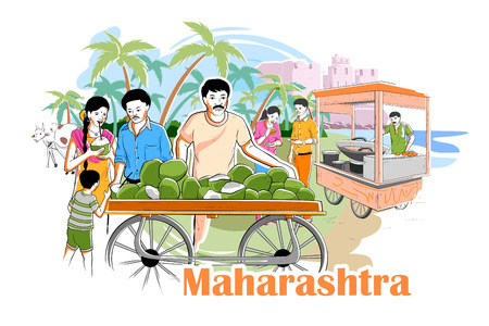 konkan: easy to edit vector illustration of people and culture of Maharastra, India Illustration