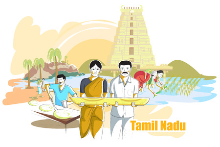 tamilnadu: easy to edit vector illustration of people and culture of Tamil Nadu, India