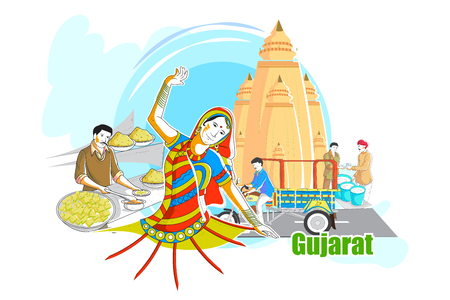 rural india: easy to edit vector illustration of people and culture of Gujarat, India