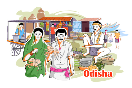 rural india: easy to edit vector illustration of people and culture of Odisha, India