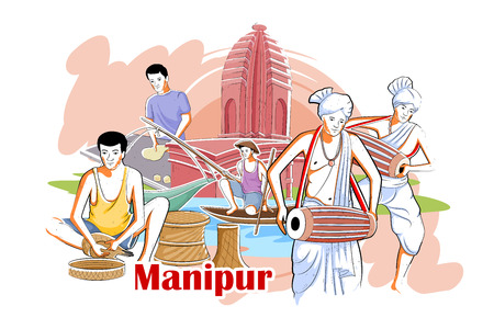 rural india: easy to edit vector illustration of people and culture of Manipur, India