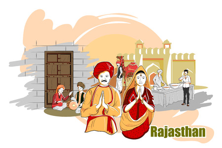 rural india: easy to edit vector illustration of people and culture of Rajasthan, India