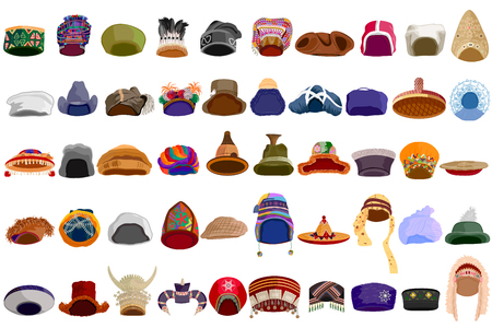 western european ethnicity: easy to edit vector illustration of traditional hat of different communities accross the world Illustration