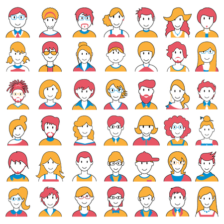 hairdos: easy to edit vector illustration of people icon of different Social Groups