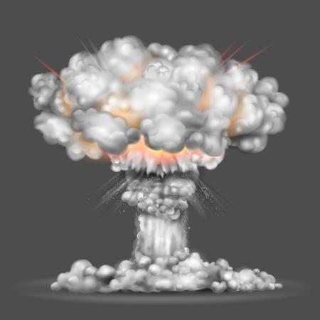 illustration explosion d'une bombe nucléaire Vecteurs