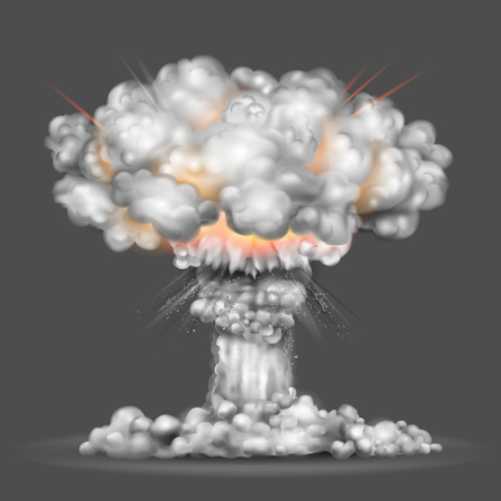 ilustración de la explosión de una bomba nuclear Ilustración de vector