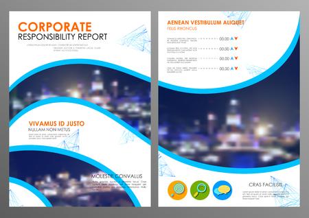 illustrazione della relazione annuale e la presentazione Opuscolo Opuscolo e libro copertina modello di layout di progettazione