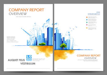 illustratie van het jaarverslag en de presentatie Bijsluiter Brochure en de cover van het boek lay-out template ontwerp Stock Illustratie