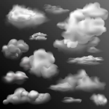 cloudy day: illustration of set of realistic cloud for any background