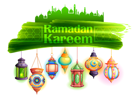 religious backgrounds: illustration of Ramadan Kareem Generous Ramadan greeting in Arabic freehand with illuminated lamp Illustration