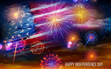 illustration of United States of America flag on Fireworks background for Fourth of July celebration