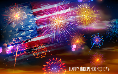 illustration of United States of America flag on Fireworks background for Fourth of July celebration Illustration
