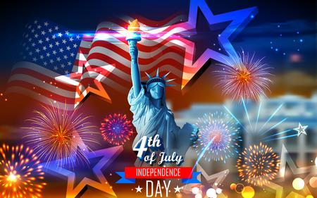 illustrazione della Statua della Libertà su sfondo bandiera americana per il Giorno dell'Indipendenza Vettoriali