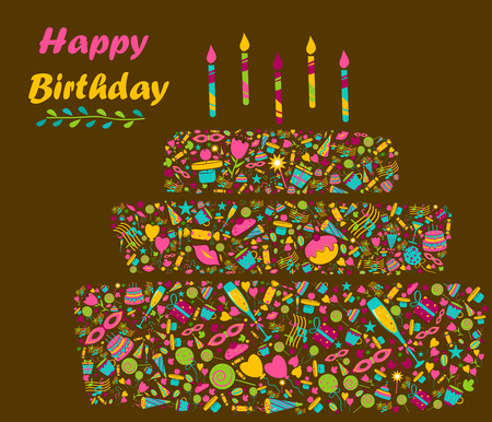 festive occasions: Colorful Seasons Greetings for Happy Birthday in vector
