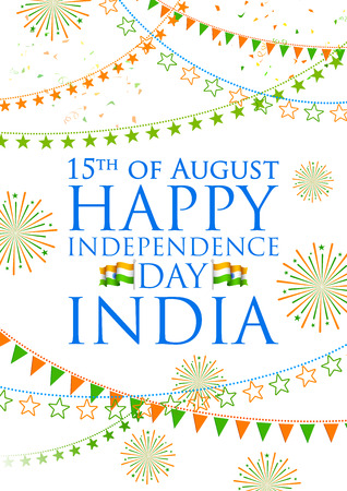 tricolor: illustration of tricolor India banner for Happy Independence Day of Indian