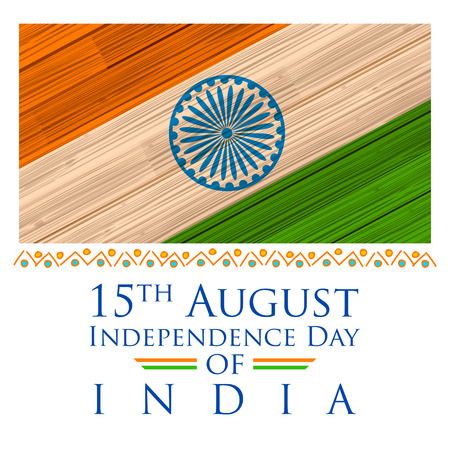 ashok: illustration of tricolor India Flag background in wooden texture for Happy Independence Day of Indian